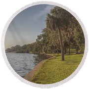 Along The Wall Round Beach Towel