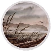 Along The Wild Shore Round Beach Towel