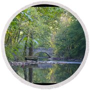 Along The Wissahickon In October Round Beach Towel