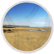 Along Whitby Sands Round Beach Towel