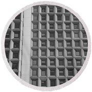 Alot Of Windows In Black And White Round Beach Towel