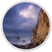 Alpenglow On Wedding Rock Round Beach Towel