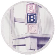 Alphabet Blocks Chair Round Beach Towel