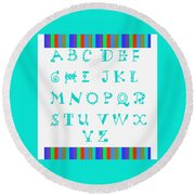 Alphabet Blue Round Beach Towel