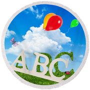 Alphabet Letters Round Beach Towel by Amanda Elwell