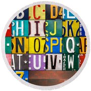Alphabet License Plate Letters Artwork Round Beach Towel