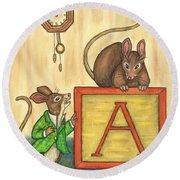 Alphabet Mice Round Beach Towel