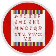 Alphabet Red Round Beach Towel