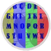 Alphabet With Apples Round Beach Towel