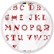 Alphabet With Multicolor Round Beach Towel