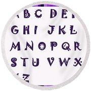 Alphabet With Purple Stripes Round Beach Towel