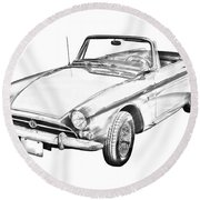 Alpine 5 Sports Car Illustration Round Beach Towel
