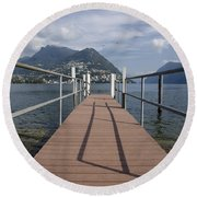 Alpine Lake With A Pier Round Beach Towel