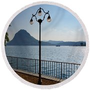 Alpine Lake With Street Lamp Round Beach Towel