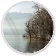 Alpine Lake With Trees Round Beach Towel