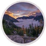 Alpine Lakes Morning Cloudscape Round Beach Towel