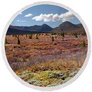 Alpine Landscape In Fall Round Beach Towel