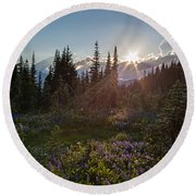 Alpine Meadow Sunrays Round Beach Towel