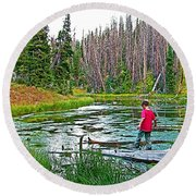 Alpine Pond On Alpine Pond Trail In Cedar Breaks National Monument-utah Round Beach Towel