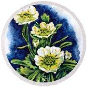 Alpine Ranunculus Round Beach Towel by Zaira Dzhaubaeva