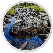 Alpine Stream Beartooth Mounain Range Round Beach Towel by Edward Fielding