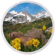 Alpine Sunflower Mountain Landscape Round Beach Towel