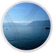 Alps And Leman Lake Round Beach Towel