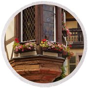 Alsace Window Round Beach Towel