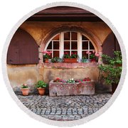 Alsatian Home In Kaysersberg France Round Beach Towel by Greg Matchick