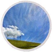 Altamont Windmills Round Beach Towel