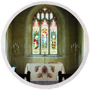 Altar And Stained Glass Window Nether Wallop Round Beach Towel