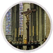 Altar Of Rouen Cathedral Round Beach Towel