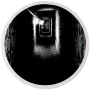 Altered Image Of The Catacomb Tunnels Paris France  Round Beach Towel