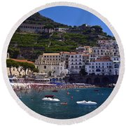Amalfi Beach And Town Round Beach Towel