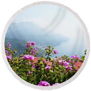 Amalfi Coast View From Ravello Italy  Round Beach Towel