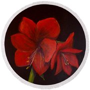 Amaryllis On Black Round Beach Towel