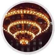 Amazing Art Nouveau Antique Chandelier - Grand Central Station New York Round Beach Towel