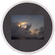 Amazing Clouds At Sunset Round Beach Towel