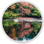 Amazing Fall Foliage Along A River In New England Round Beach Towel