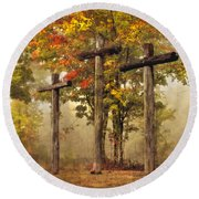 Amazing Grace Round Beach Towel by Debra and Dave Vanderlaan