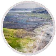 Amazing Iceland Landscape Round Beach Towel
