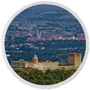Amazing Medvedgrad Castle And Croatian Capital Zagreb Round Beach Towel