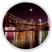 Amazing New York Skyline And Brooklyn Bridge With Moon Rising Round Beach Towel