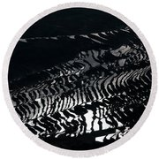 Amazing Rice Terrace In Black And White Round Beach Towel