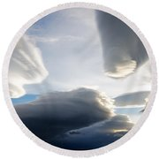 Amazing Skies Over Puerto Natales Chile Round Beach Towel