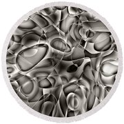 Amazing World Of Cells - Black And White Round Beach Towel