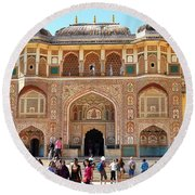 Amber Fort Entrance To Living Quarters - Jaipur India Round Beach Towel