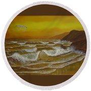 Amber Sunset Beach Seascape Round Beach Towel