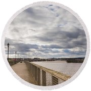 Amble Harbour And Village Round Beach Towel