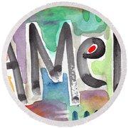 Amen- Colorful Word Art Painting Round Beach Towel by Linda Woods